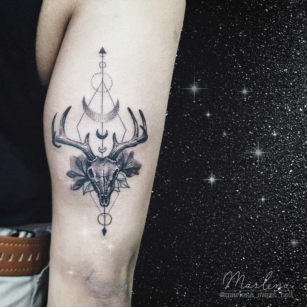 geometric deer skull tattoo marlena_sweet_hell