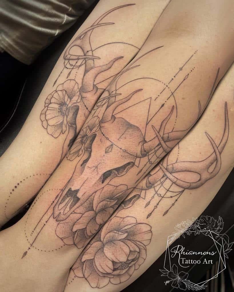 geometric deer skull tattoo rhiannonstattooart