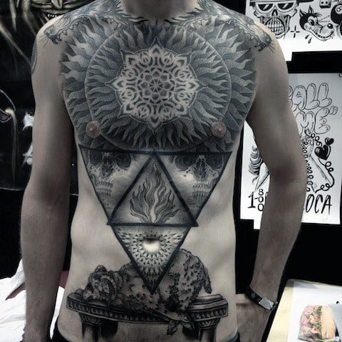 Geometric Detailed Mens Full Chest Pattern Tattoos