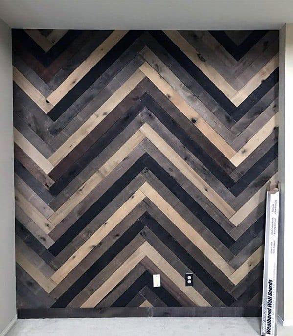 Geometric Diy Man Cave Ideas Wood Wall Board