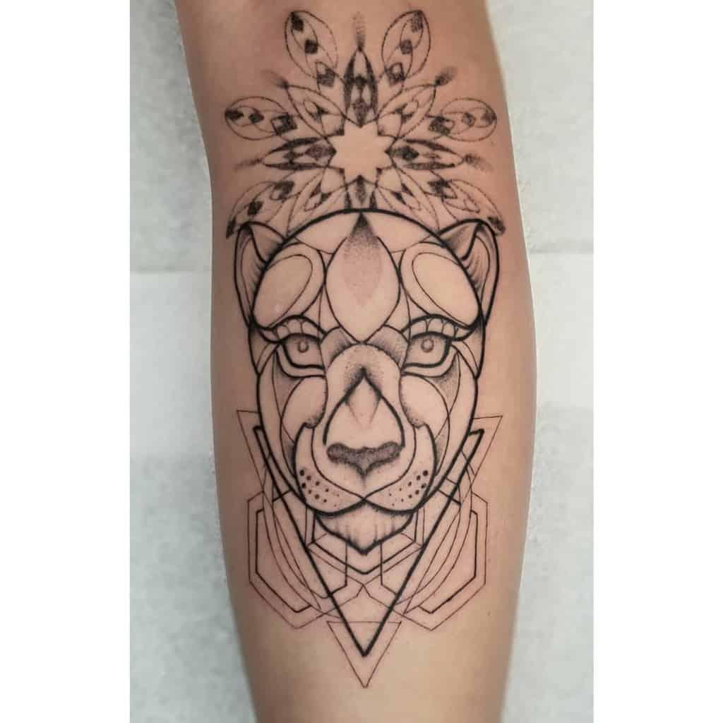 Geometric Dot Work Lion Tattoo