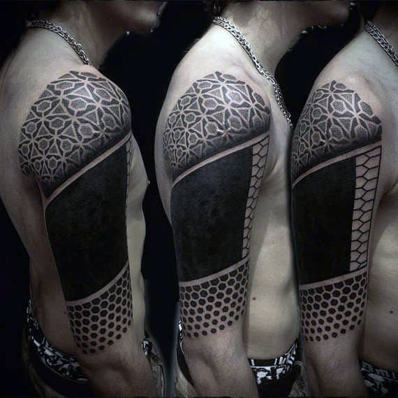 Geometric Dots Blackwork Mens Half Sleeve Tattoo Inspiration