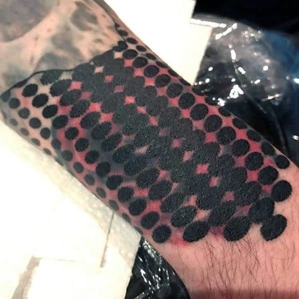 Geometric Dots Forearm Blast Over Tattoo Design On Man