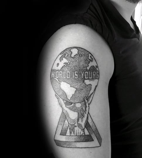 Geometric Dotwork Male The World Is Yours Upper Arm Tattoo