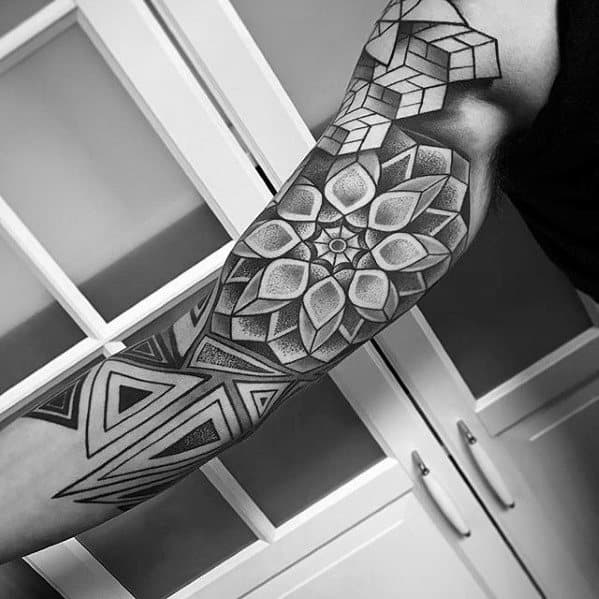 Geometric Dotwork Pattern Half Sleeve Rad Tattoo Design On Man