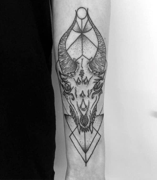 geometric-dragon-skull-mens-inner-forearm-tattoo-designs