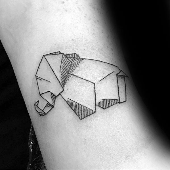 Geometric Elephant Mens Simple Arm Tattoos