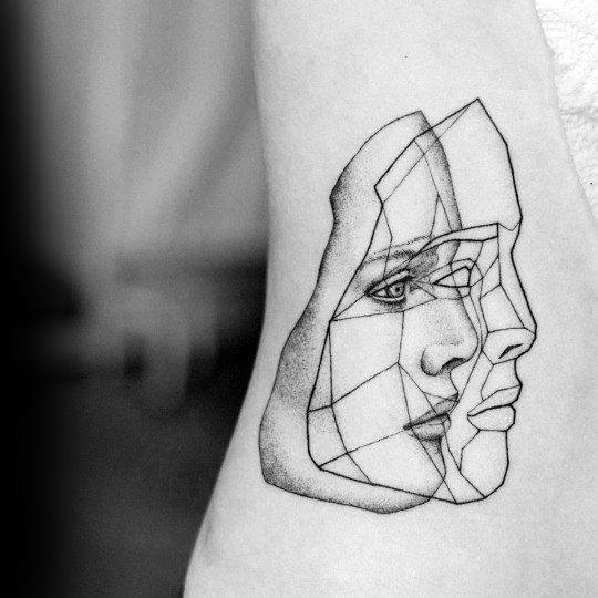Geometric Face Abstract Guys Small Unique Chest Tattoos