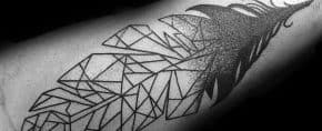 30 Geometric Feather Tattoo Designs For Men – Shaped Ink Ideas