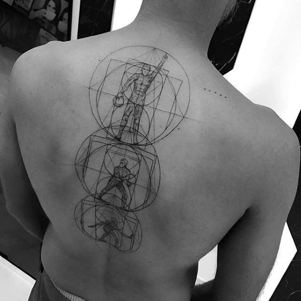 Geometric Figures Back Mens Great Tattoo Design Inspiration