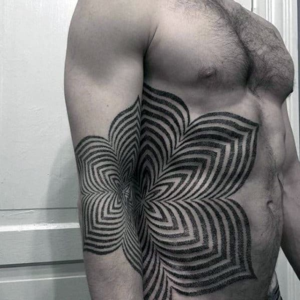 Geometric Flower Guys Badass Side Of Chest Tattoos