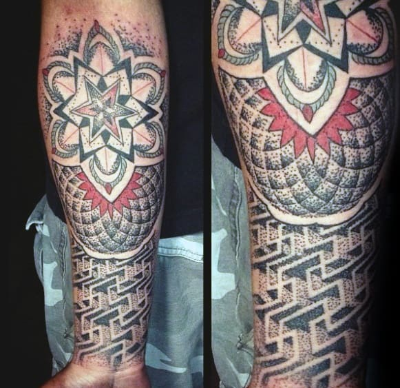 Geometric Flower Maze Tattoo On Mens Inner Forearm