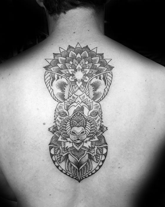 Geometric Flower Pattern Back Incredible Kangaroo Tattoos For Men