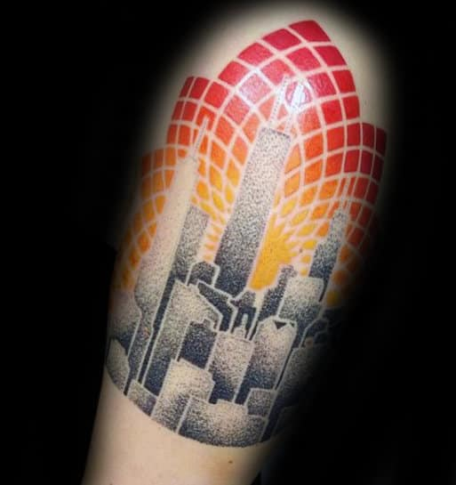Geometric Flower Skyline Mens Dotwork Quarter Sleeve Tattoos
