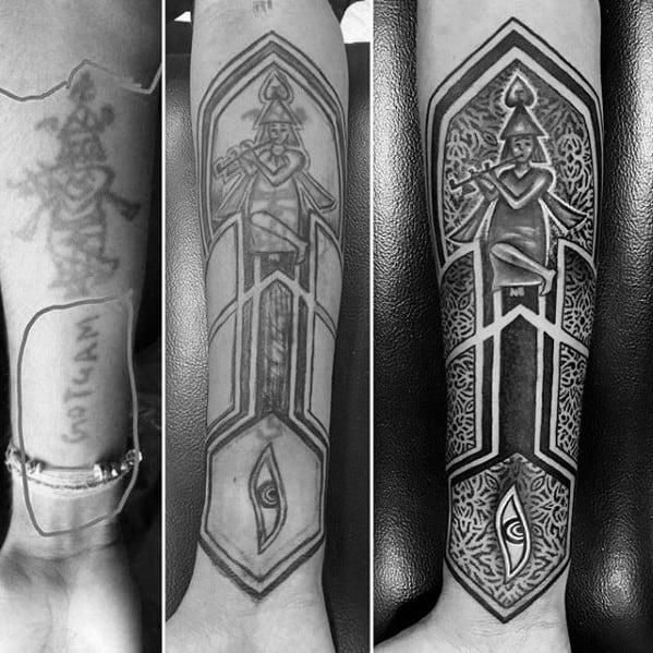 Geometric Forearm Cover Up Tattoos For Men