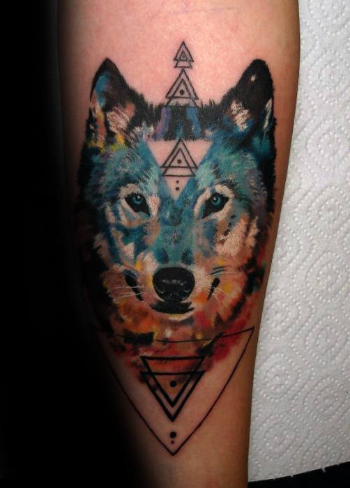 Geometric Forearm Mens Wolf Watercolor Tattoo Designs