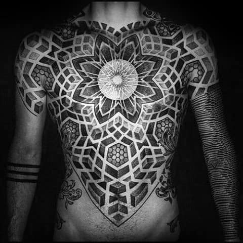 Geometric Full Chest Tattoo Design Ideas For Males