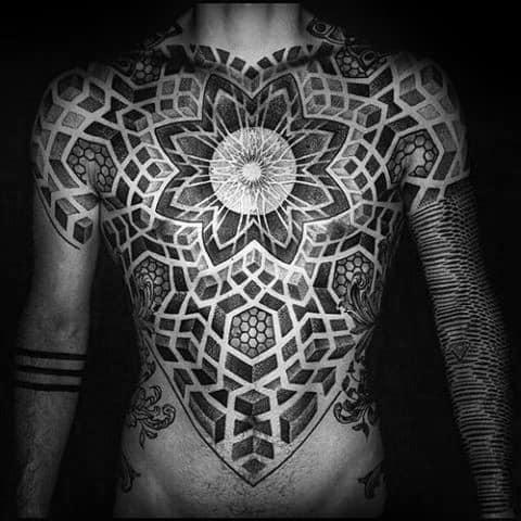 Geometric Full Chest Tattoo Design Ideas For Males
