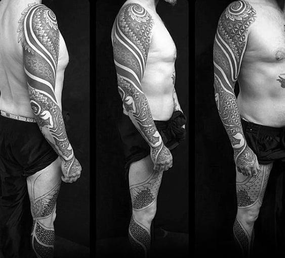 Geometric Full Sleeve Male Tattoos