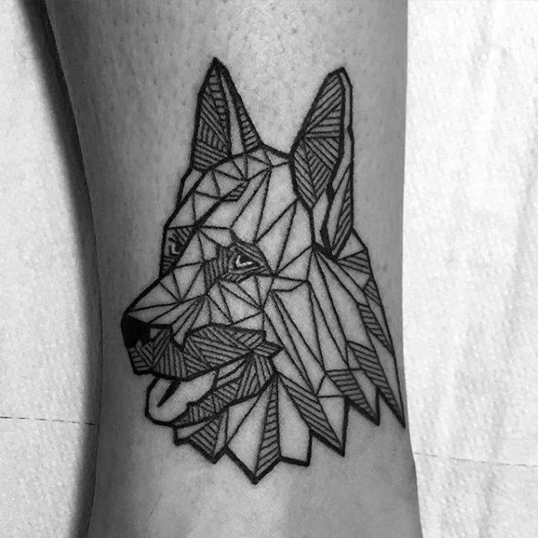 Geometric German Shepherd Mens Small Tattoo Ideas On Forearm