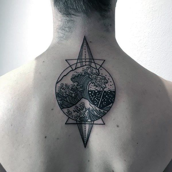 geometric-great-wave-ocean-mens-upper-back-tattoo