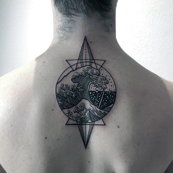 Geometric Great Wave Ocean Mens Upper Back Tattoo