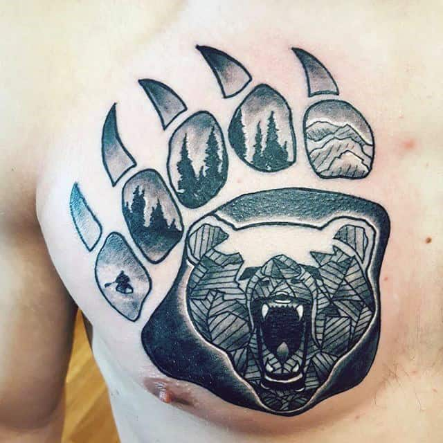 Geometric Guys Bear Claw Chest Tattoo Designs