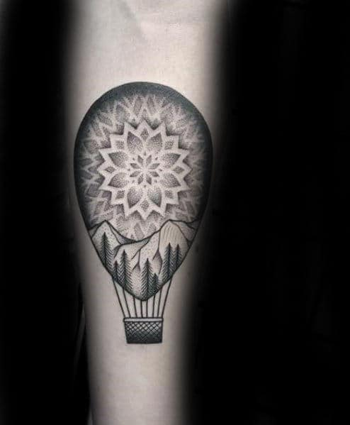 Geometric Guys Hot Air Balloon Tattoo On Inner Forearm
