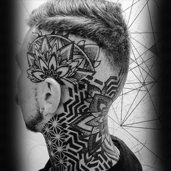 Geometric Guys Pattern Flower Tattoo On Head