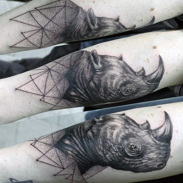 Geometric Guys Rhino Arm Tattoos