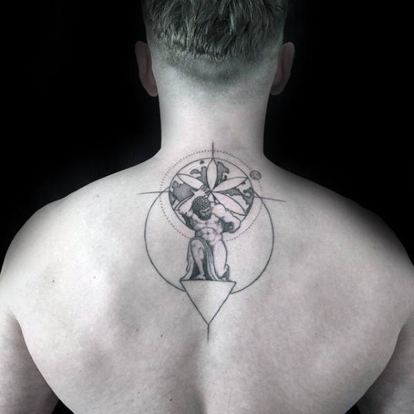 Geometric Guys Upper Back Atlas Tattoo Design Inspiration