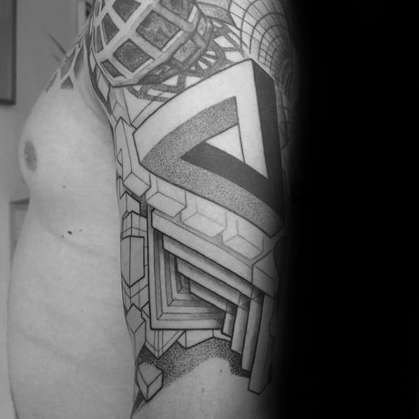 Geometric Half Sleeve Guys Penrose Triangle Tattoos