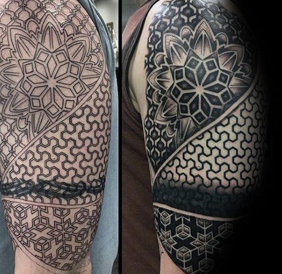 Geometric Half Sleeve Tattoo Cover Up Ideas For Men