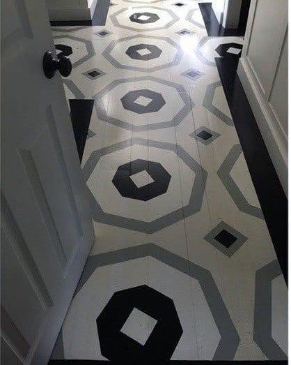 Geometric Hallway Cool Painted Floor Design Ideas