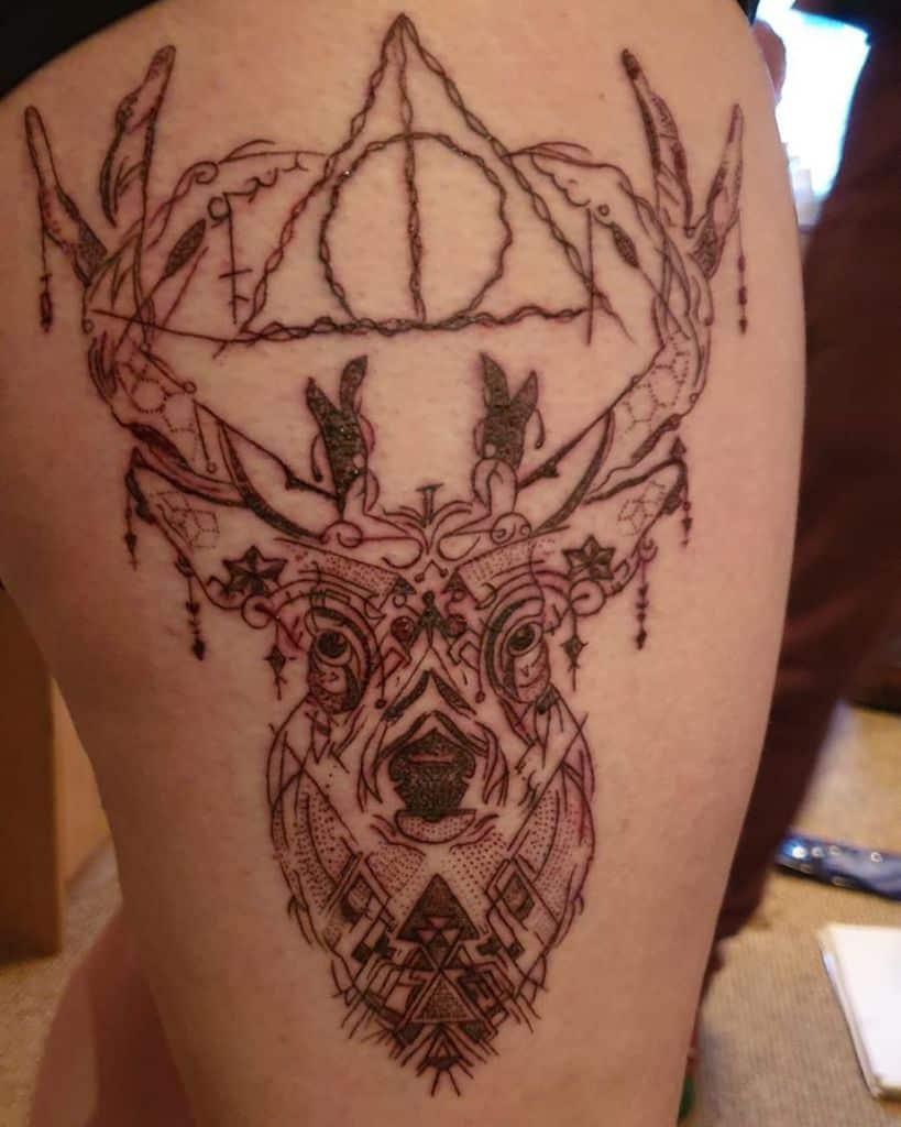 geometric harry potter deathly hallows tattoo