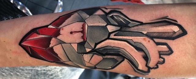 50 Geometric Heart Tattoo Designs For Men – Symmetrical Ideas