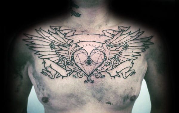Geometric Heartwith Wings Mens Chest Tattoo