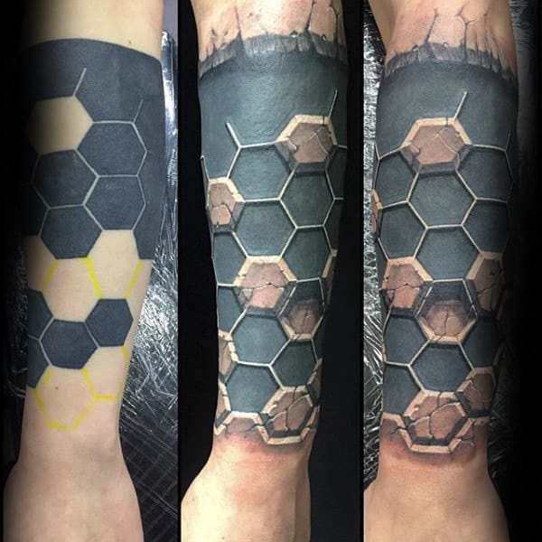 Geometric Hexagon Stone Forearm Sleeve Mens Tattoos