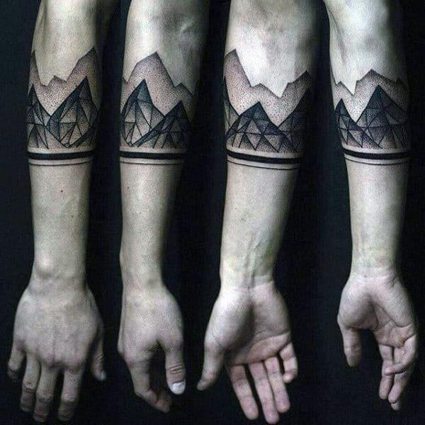 Geometric Hills Dotwork Tattoo Male Forearms
