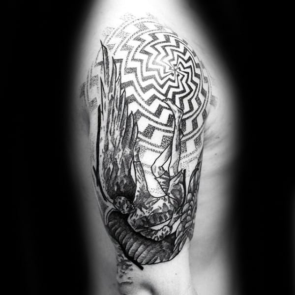 Geometric Icarus Mens Half Sleeve Tattoos