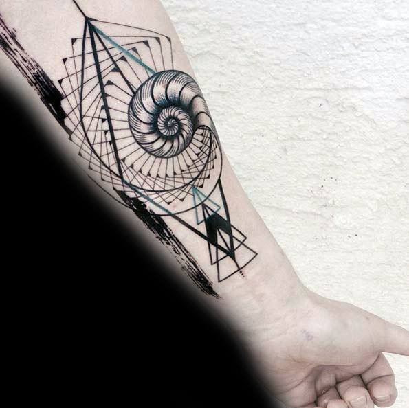 Geometric Inner Forearm Teal And Black Ink Ammonite Male Tattoos
