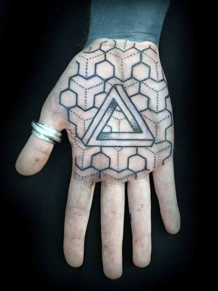 Geometric Inner Hand Palm 3d Triangle Tattoo Designs For Guys
