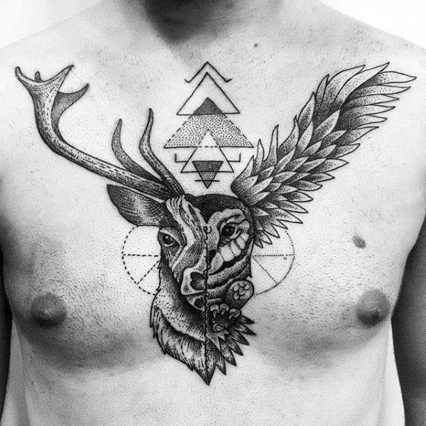 Geometric Insane Mens Deer Chest Tattoos