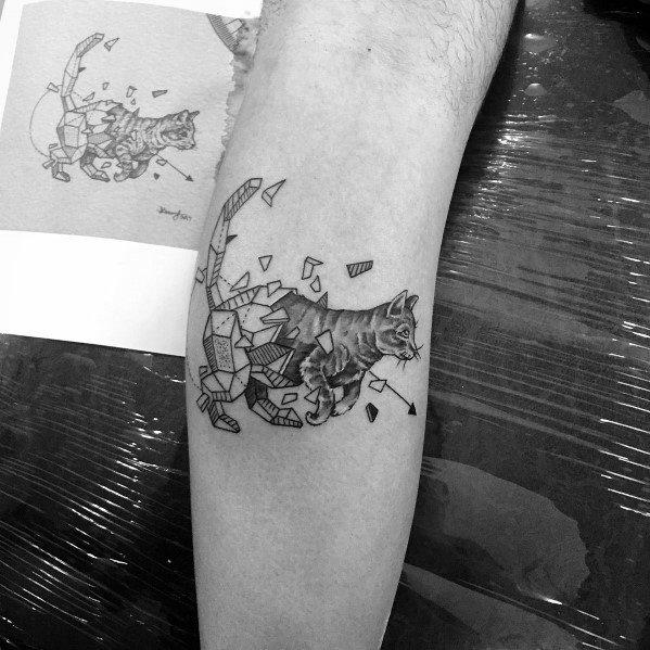 Geometric Leg Calf Cat Tattoo Ideas For Men