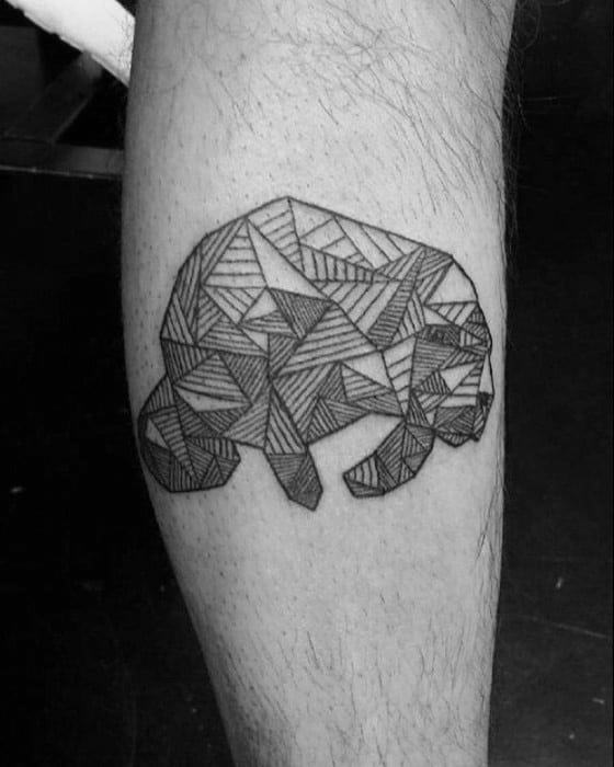 Geometric Leg Calf Walrus Tattoos For Males