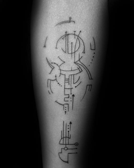 Geometric Lines And Shapes Mens Simple Forearm Tattoo