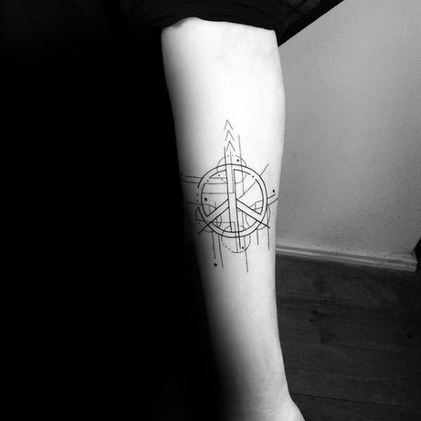 Geometric Linework Male Peace Sign Tattoos