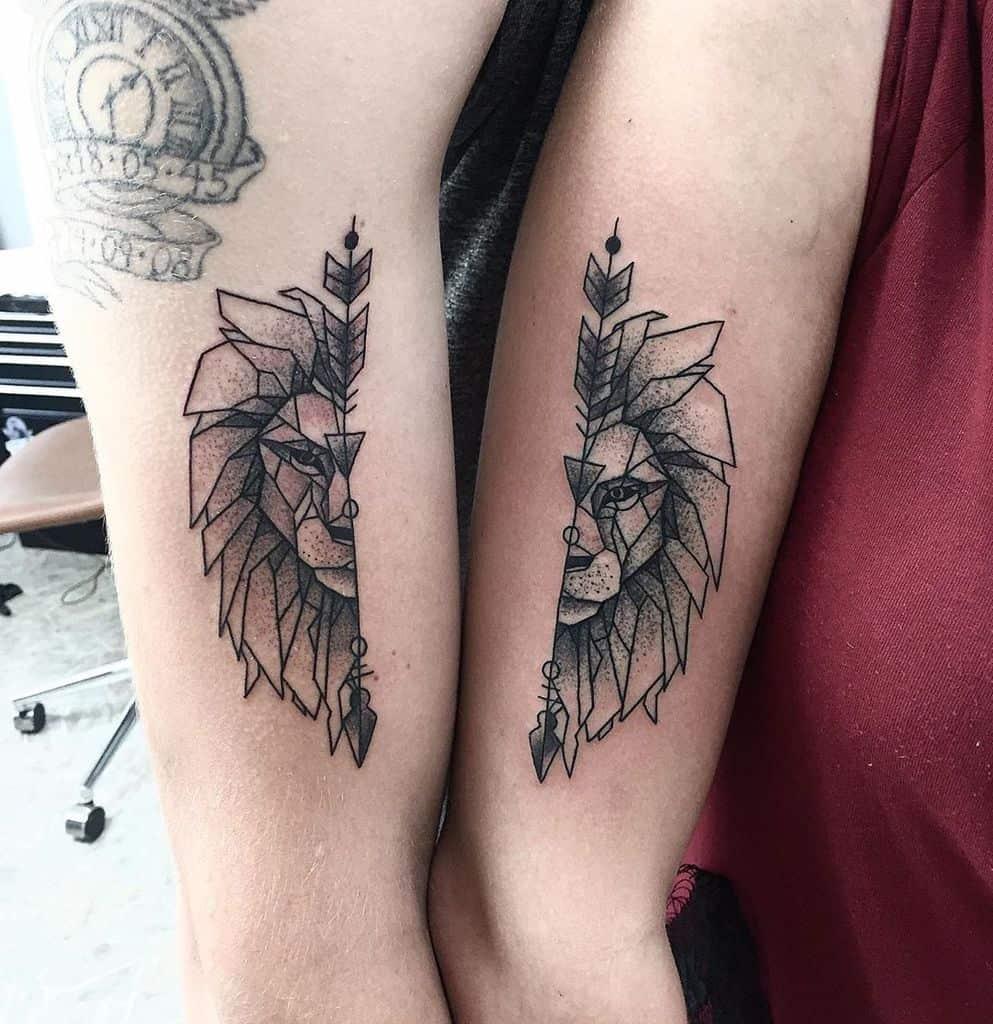 Geometric Lion Friendship Tattoo