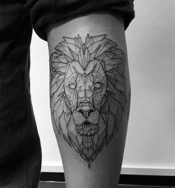Geometric Lion Mens Back Of Leg Calf Tattoos