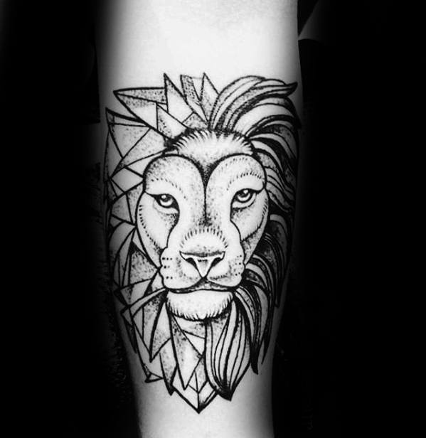 Geometric Lion Tattoos Male Inner Forearm